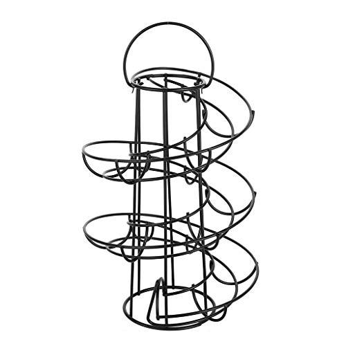 Joocyee Cesta de Huevos en Espiral Dispensador en Espiral Organizador de Almacenamiento Soporte de exhibición Cesta, Estante de Huevos en Espiral de Metal Negro, Blanco