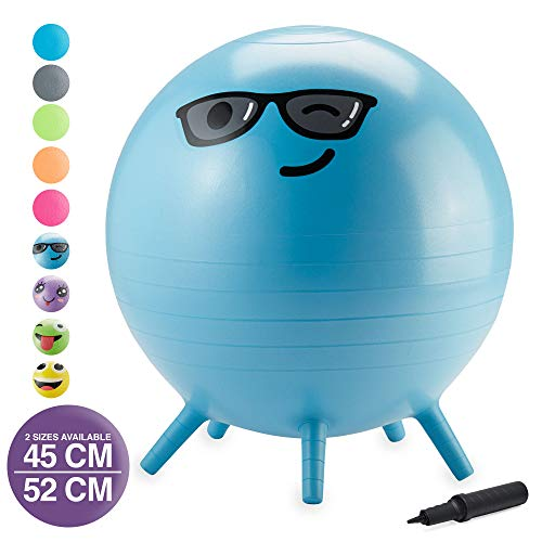 Gaiam Kids Stay-N-Play Children's Balance Ball - Flexible School Chair Active Classroom Desk Alternative Seating   Built-In Stay-Put Soft Stability Legs, Includes Air Pump, 45cm, Blue Captain Cool