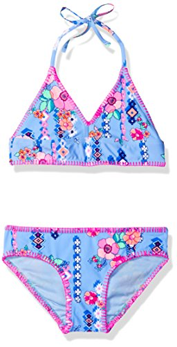 Gossip Girl Big Girls' Gypsy Flower Two Piece Bikini Swimsuit, Blue/Multi, 7