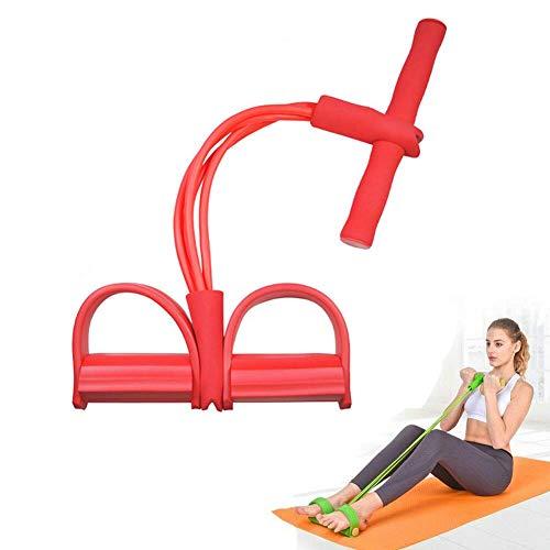 DZANS Multi-Function Tension Rope, Fascette Multifunzionali per Esercizi con Pedaliera per Esercizi Fitness con Corda per Tensione, Esercitatore per Gambe Multifunzione A 4 Tubi (Rosso)