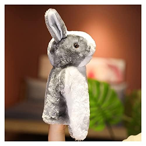Marioneta 13 Estilos Animales Peluche Mano títere Juguete Lindo Oso Conejo Rana Gato Elefante muñeca rellena contando Jugando muñeca aprendiendo Divertido (Color : Gray Rabbit, Height : 28cm)