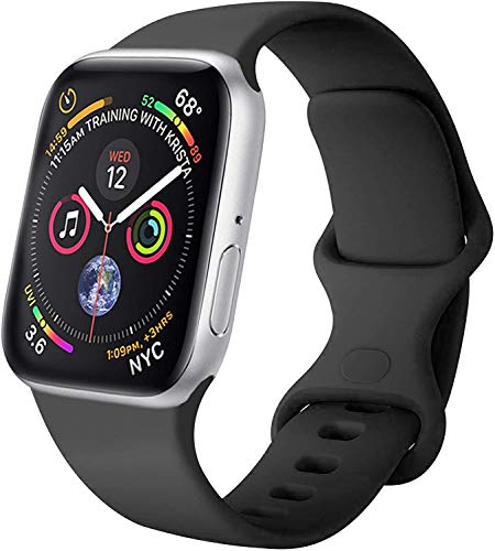 VIKATech Compatible Cinturino per Apple Watch Cinturino 44mm 42mm 40mm 38mm, Cinturino Morbido di Ricambio in Silicone per iWatch Series 6/5/4/3/2/1 (42mm/44mm S/M, Nero)