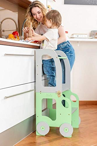 Toddler in Family Torre de Aprendizaje/Escritorio y Taburete Montessori (Verde/Gris) (Cocina)