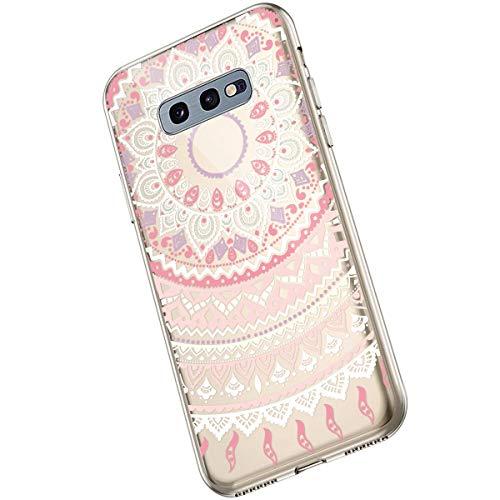 Saceebe Compatible avec Samsung Galaxy S10e Coque Fleur Mandala Clair Design Motif Silicone Transparent TPU Souple Housse de Protection Ultra Mince Slim Léger Antichoc Étui,Rose Violet