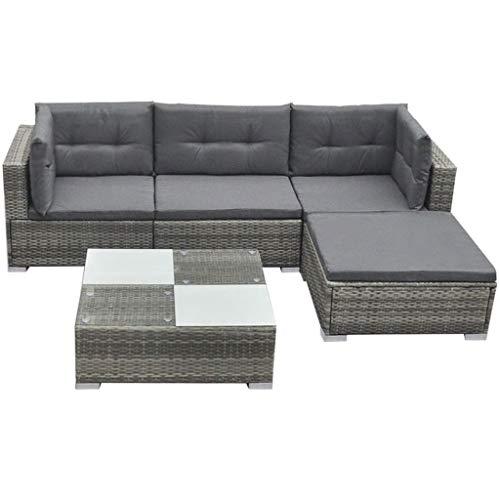 vidaXL Gartenmöbel 14-TLG. Poly Rattan Lounge Gartensofa Garnitur Sitzgruppe