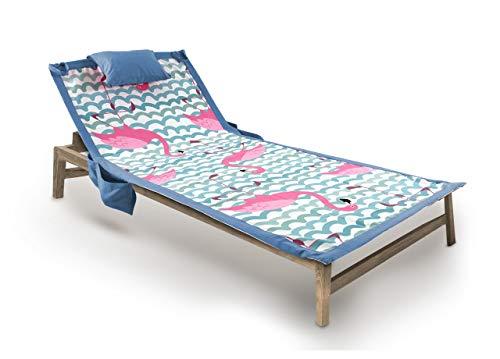 BIANCHERIAWEB Telo Mare da Lettino con Cuscino Modello Comodo Summer Disegno Domingo