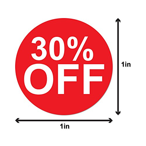 """Garage Yard Sale Price Stickers Labels [30% Percent Off] for Retail Store Clearance Promotion Discount Deals Circle Pricemarker Tag Labels Stickers (Red and White / 1"""") - 300 Labels per Package Photo #2"""