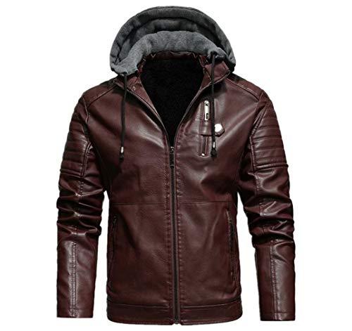 Chaqueta de piel sintética para hombre, impermeable y cortavientos, para motocicleta, con capucha, estilo retro, con cubierta extraíble (23 colores)