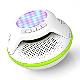 Pool Floating IPX7 Waterproof Bluetooth Speaker, Portable Wireless Shower Speakers with Deep Bass and Colorful LED Light for Outdoor Swimming Pool Hot Tub Home Party (Green)