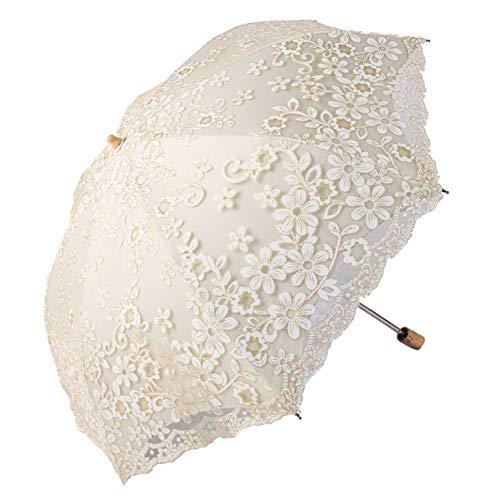 Honeystore Travel Sun Parasol Folding Brolly Anti-uv Sunshade Vintage Umbrella Printed Glitter Design 2 Folding Beige