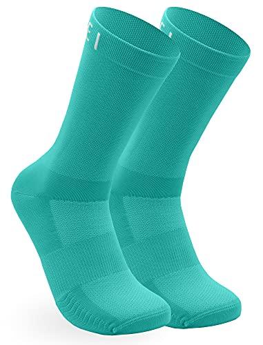 NORTEI Calcetines Turquesa para Ciclismo, MTB y Running de Caña Alta para Hombre y Mujer – Infinity Turquoise (M (40-42))