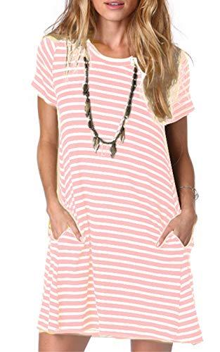 Ancapelion Vestido de manga corta para mujer, para el tiempo libre, línea A, vestido de verano, túnica, cuello redondo Color rosa a rayas. S
