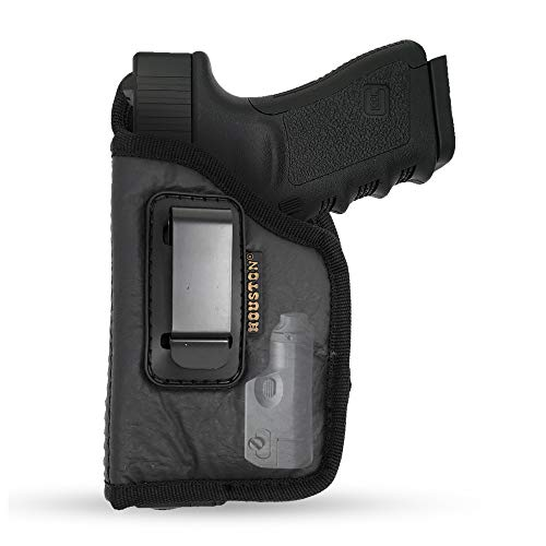 IWB ECO Leather Concealment Holster - by Houston - Inside The Waist with Metal Clip FITS Most MIDSIZES & Compact 9 mm / .40 Cal / .45 Caliber with Laser (Left) (CHP-57GL-LH)