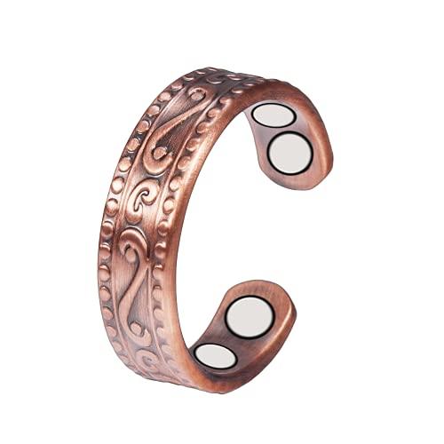 YINOX CPR-0955 Anillo de cobre magnético para mujeres hombres antiguos ajustable saludable