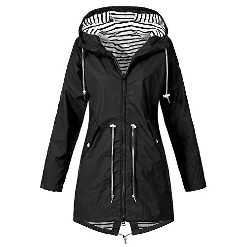 Black Friday Limited Deals Mantel Damen Winter Elegant Schwarz Solid Regenjacke Outdoor Plus Regenjacke mit Kapuze Winddicht