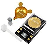 (Upgraded) Milligram Scale with Metal Pan, mg Scale 50g x 0.001g, Scale Milligram .001, Powder Scale for Medicine Supplement Capsule Jewelry, 50g Calibration Weight, Powder Scoop (Batteries Included)