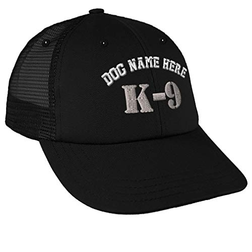 Snapback Baseball Cap K-9 Silver Logo Embroidery Dog Name Cotton Mesh Hat Snaps - Black, Personalized Text Here