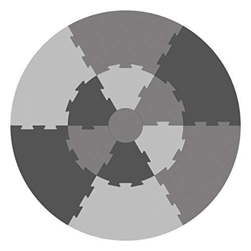 Sebra Spielmatte, Krabbeldecke, Puzzlematte besteht aus 13 Teilen in Vier Grautönen - Pigeon Grey