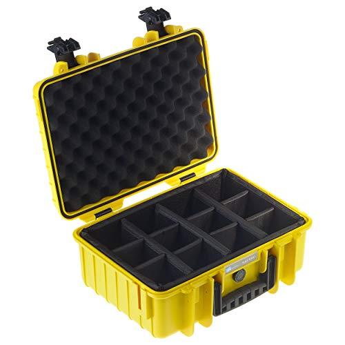 B&W Transportkoffer Outdoor Typ 4000 gelb mit variabler Facheinteilung - wasserdicht nach IP67 Zertifizierung, staubdicht, bruchsicher und unverwüstlich