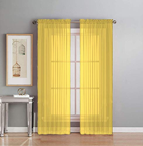 Interior Trends 2 Piece Fully Stitched Sheer Voile Window Panel Curtain Drape Set (120' Long, Yellow)
