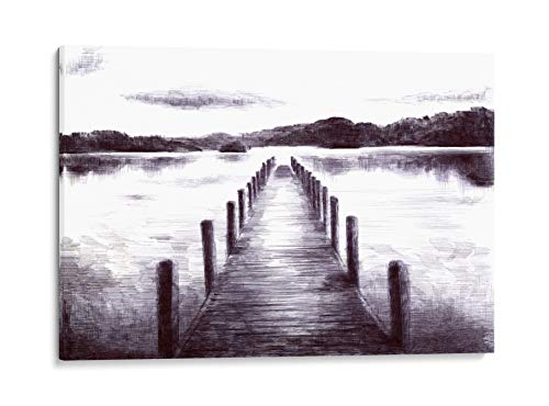 INTALENCE ART Lake Pier Landscape Wall Decor, Black and White Sketch, 8x12in Vintage Wooden Dock Wall Art, Premium Print on Canvas, Modern Home and Office Picture Decoration, Easy and Ready to Hang.