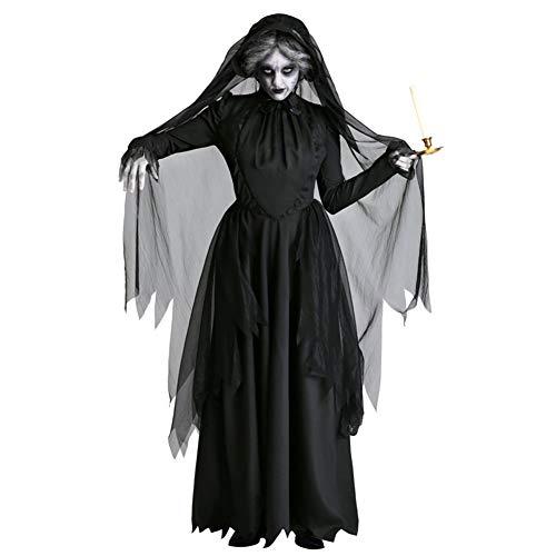 chuangminghangqi. Disfraces de bruja vestidos de vampiro Halloween mujer disfraz Carnaval señora Adultos Cosplay Vestido Horror Femenino Fantasma Vestido Fiesta Negro XL