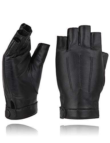 "YISEVEN Women's Classic Sheepskin Leather Fingerless Gloves Lined Classic Soft Sheepskin 1/2 Half Finger Button Punk Motorcycle Cycling Fitness Touchscreen Warm Winter Glove, Black 8.0""/XL"
