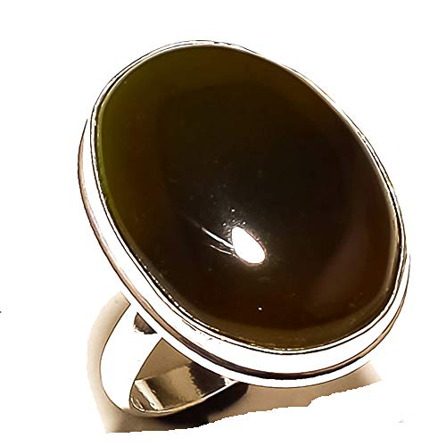 Shivi Ring Size 10 US (Sizeable)! Brown Botswana Agate! Sterling Silver Plated Handmade! Jewelry from
