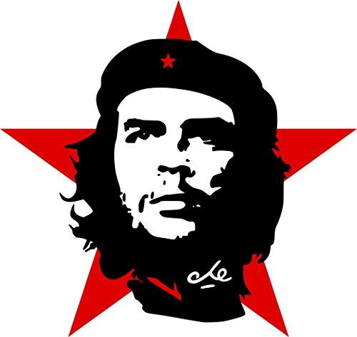 Etaia 8x8 cm Auto Aufkleber Che Guevara roter Stern Revolution Kuba Cuba Sticker Motorrad Handy Laptop