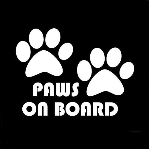 RUIRUI Paws On Board, Dog, Puppy, Foot Car Sticker Car Styling Silver 10.5Cm*7.5Cm