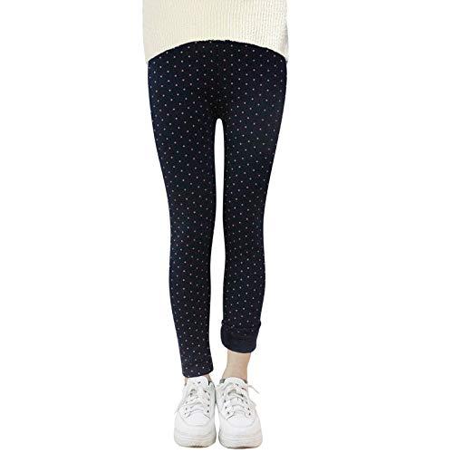 YFPICO Mädchen Gedruckt Kinder Winter Warm Leggings Dicke Elastische Legging Warm Leggins Dicke Hosen, Navy blau(Punkt), 134-140