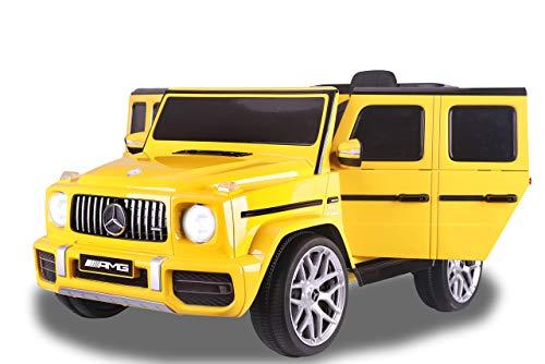 Jamara 460642 Ride-on Mercedes-Benz AMG G 63 12V-2-Gang, 2 leistungsstarke Antriebsmotoren, 12V Akku Lange Fahrzeit, USB, Akkuanzeige, Softanlauf, gefederte Hinterachse, LED, gelb