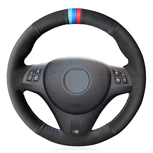 WBMKH Cubierta del Volante del Coche de Cuero Negro Cosida a Mano, para BMW M Sport M3 E90 E91 E92 E93 E87 E81 E82 E88