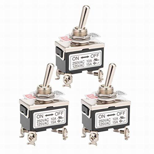 3Pcs AC 125V / 15A 250V / 10A ON-Off 2P 4 terminales que enganchan el interruptor de palanca DPST