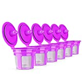 6 PCS Reusable Coffee Filter Replacement for Keurig K MINI PLUS Refillable K Cupsules 2.0 1.0 Small Coffee Pod Single Reuable Coffee Capsules (Purple/6)