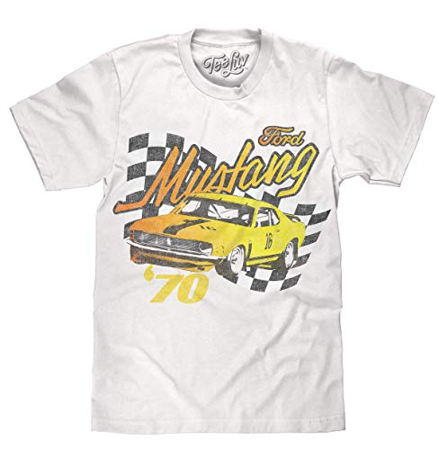 Tee Luv Men's Faded 1970s Ford Mustang Car Shirt (White) (M)