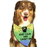 Rghkjlp Dogs Bandana Collars Keep Calm and Carry On (11) Pets Triangle Neckerchief Puppy Bibs Scarfs Cats Scarfs Towel