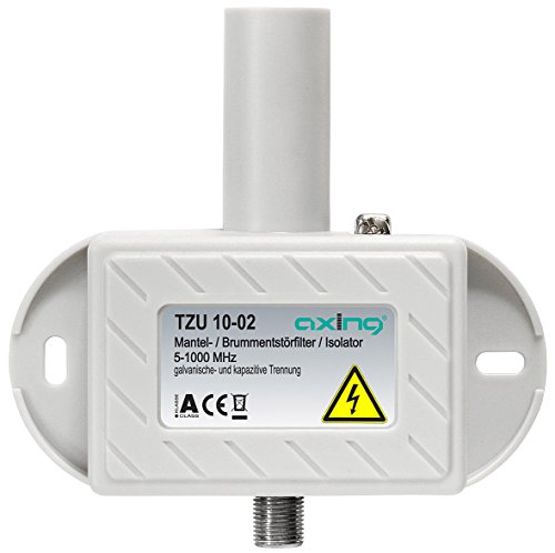 Axing TZU 10-02 Mantelstromfilter / Brumm-Entstör-Filter Class A (5-1000 MHz) F-Anschlüsse für Kabelfernsehen Radio DVB-T2 HD