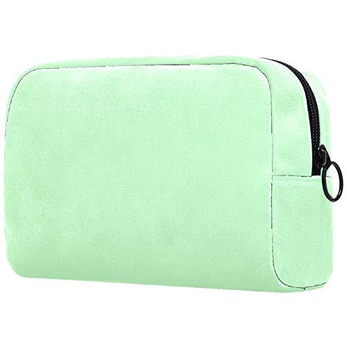Girl Cosmetic Bags Women Makeup Bag Toiletry Organizer Pouch with Zipper 7.3x3x5.1 Inch Pure Avocado Green Pattern