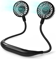 Neck Fan 2600mah Battery Operated Neckband Fan 6-Speed Hand-Free Wearable Personal USB Fan for Hot Flashes Home Office...