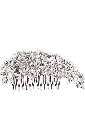 Vococal® Bridal Peigne Épingle à Cheveux Strass Fleur de Style Rose Accessoires pour Cheveux