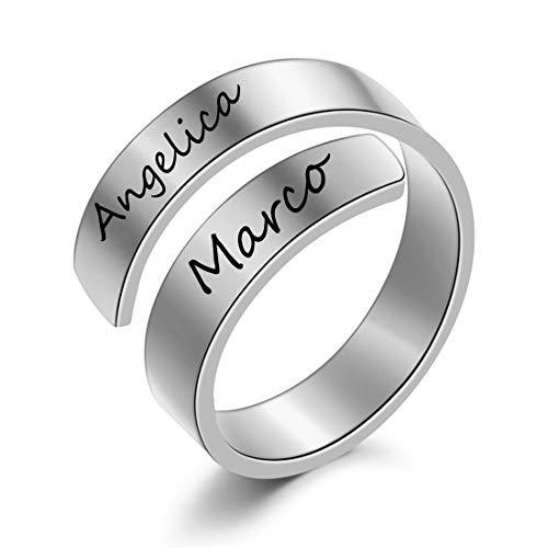 XiXi Anelli Coppia Personalizzato Anelli Donna Acciaio Inossidabile per Uomo Donna Amore Cuore Anello Fidanzamento Regalo per San Valentino