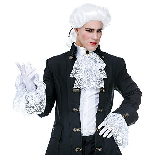 NET TOYS Spitzen-Jabot mit passenden Manschetten | 3-teilig in weiß | Elegantes Herren-Kostüm-Zubehör Rokoko Rüschen-Kragen mit Armstulpen | Perfekt angezogen für Mottoparty & Maskenball