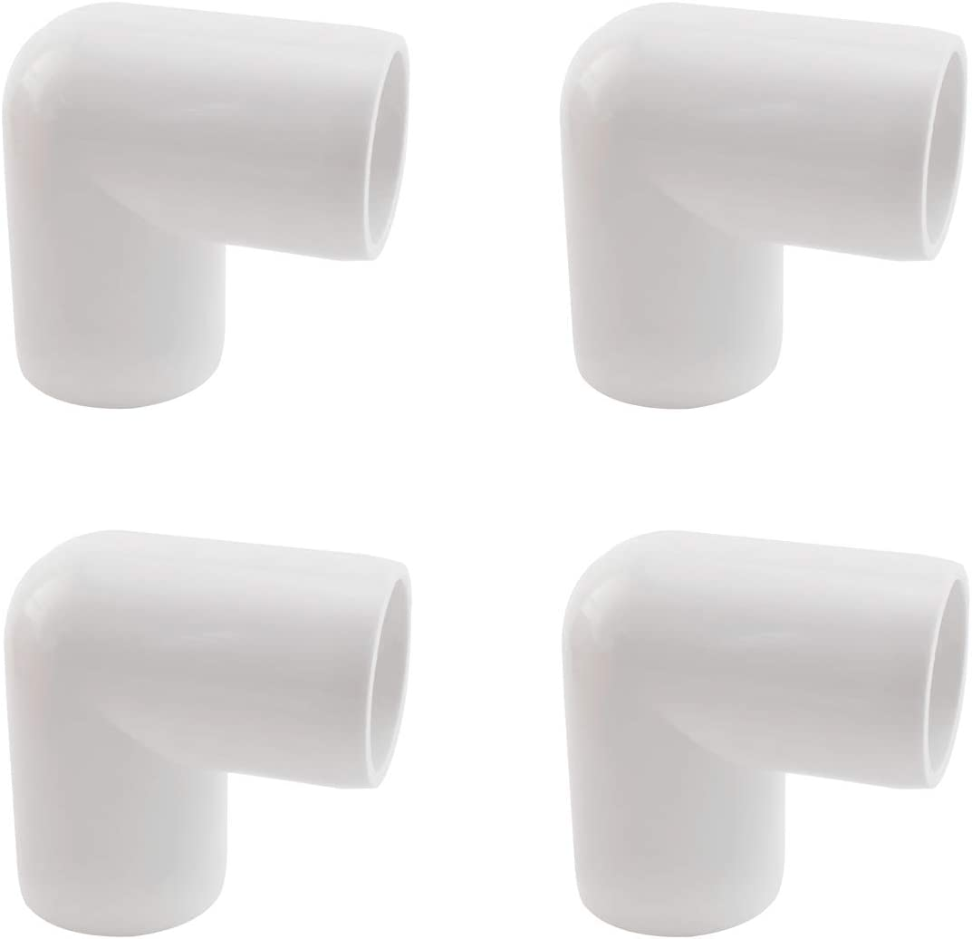 SDTC Tech 4-Pack 1/2 Inch 90 Degree Right Angle PVC Fitting Elbow Furniture Grade Pipe Connector for DIY PVC Shelf Garden Support Structure Storage Frame, White