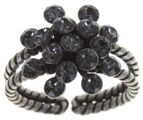 Konplott Magic Fireball Ring grey crystal silver night mini Mini (16mmØ) - Ringgröße verstellbar