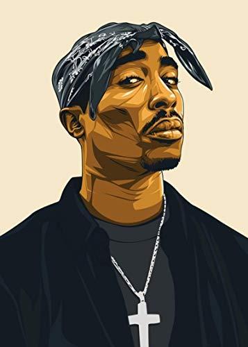 linbindeshoop Hip Hop Rap Sänger Figur Leinwand Malerei Tupac Shakur 2PAC Wandkunst Poster druckt Wandbilder für Wohnzimmer nach Hause (LQ-512) 40x60cm Kein Rahmen