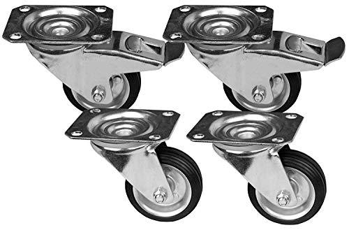 4 Stück Transportrollen im Set 75 mm, Rollen mit Bremse der Marke HRB, Schwerlastrollen mit max. 200 Kg Gesamttragkraft, geeignet für z.B. Rollen für Palettenmöbel (4er Set 75mm)