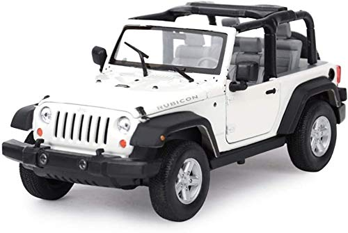 KJAEDL Model Cars For Kids Die-cast Car Model 1:24 Scale JEEP Wrangler Robin Hood Highly Detail Model Ornaments Simulation Alloy Birthday Gift For Boy (Color : White - Convertible)
