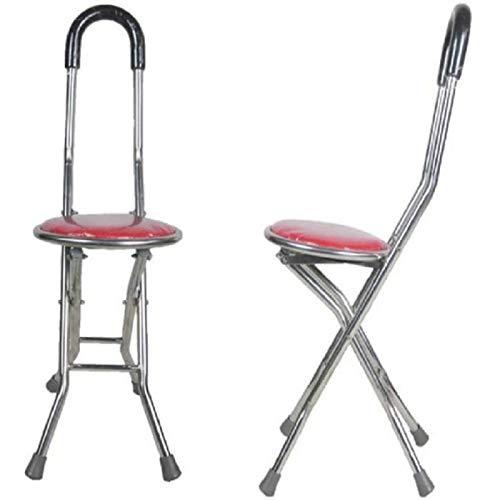ZHANG Bastón Plegable,Asiento de Silla de Bastón con Muleta,Asiento de Ayuda Médica para Discapacitados,Asiento de Aluminio para Trípode,Ayuda Flexible para Caminar