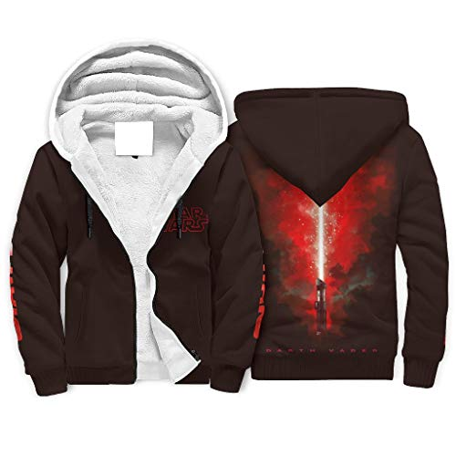 Generic Branded Darth Vader Herren Winter Full-Zip Hooded Sweatshirt Jacke Warm Casual Hoodies Geschenke für Männer Frauen Gr. 5X-Large, weiß